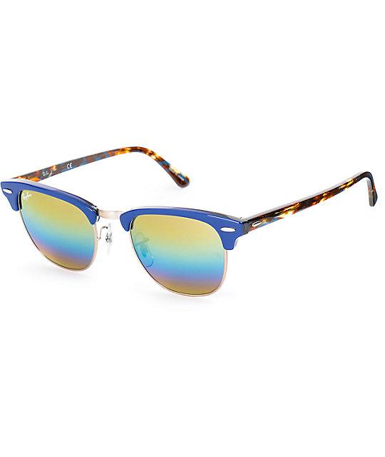 aa40bc3549 Ray-Ban Clubmaster gafas de sol en azul y arcoíris | Zumiez