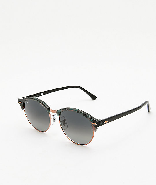 9936acd188 Ray-Ban Clubround gafas de sol grises y verdes con manchas | Zumiez