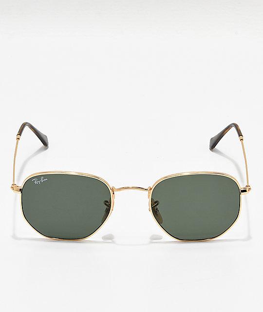 d883561e7e ... Ray-Ban Hexagonal Gold   Green Sunglasses