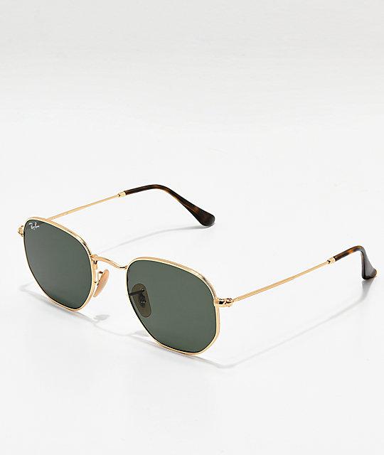39d8622f4e Ray-Ban Hexagonal Gold   Green Sunglasses