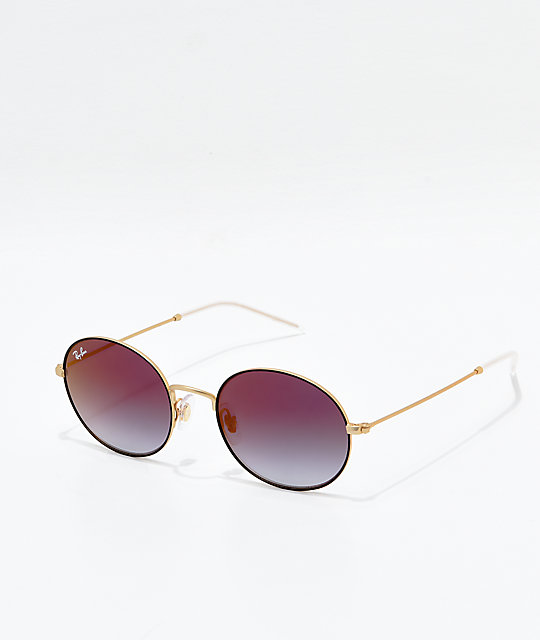 Ray-Ban Oversized Youngster Gold & Black Polarized Sunglasses