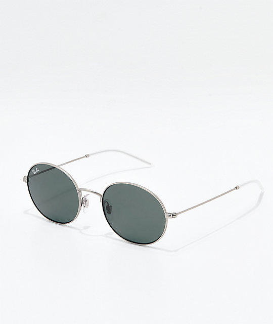 38a951df63e69 Ray-Ban Oversized Youngster Silver   Green Polarized Sunglasses