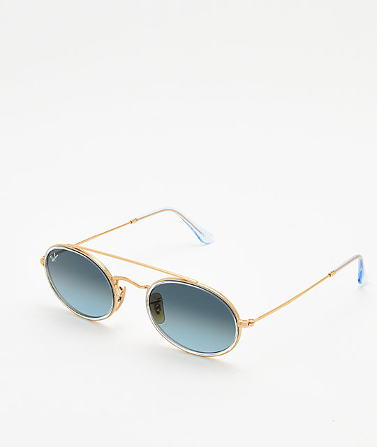 fe4f2c7802 Ray-Ban RB3847N Oval Gold   Blue Gradient Sunglasses