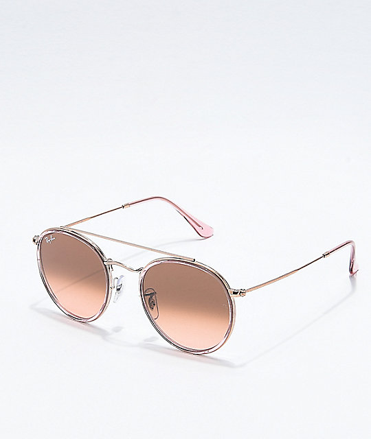 38f572983eb49 Ray-Ban Round Double Bridge Copper Gradient Sunglasses