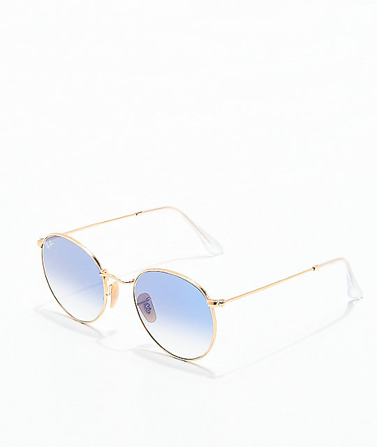 Ray-Ban Round Flat Blue Flash Gold Sunglasses