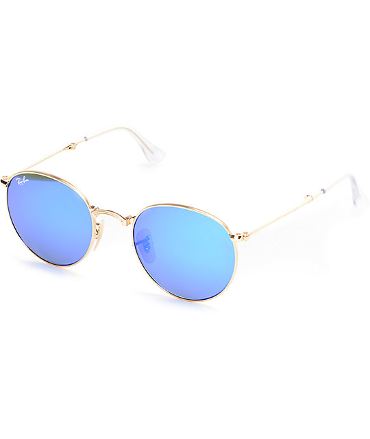 Goldamp; Blue Ray Folding Sunglasses Mirror Round Ban jL354AqR