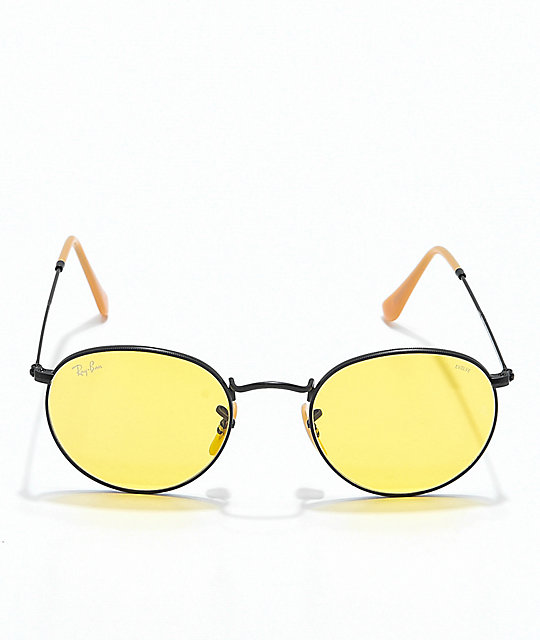 Ray-Ban Round Icon Evolve Metal Black & Yellow Sunglasses