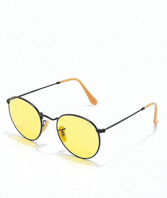 61e01d0b16331 Ray-Ban Round Icon Evolve gafas de sol de metal en negro y color amarillo  ...