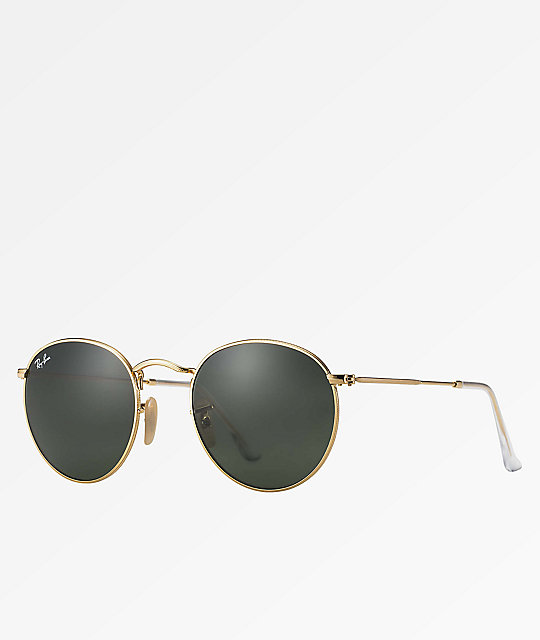 6a773b6e76 Ray-Ban Round Metal Gold   Green Classic Sunglasses