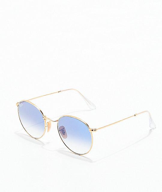 4fe230effa Ray-Ban gafas de sol redondas en oro y azul | Zumiez