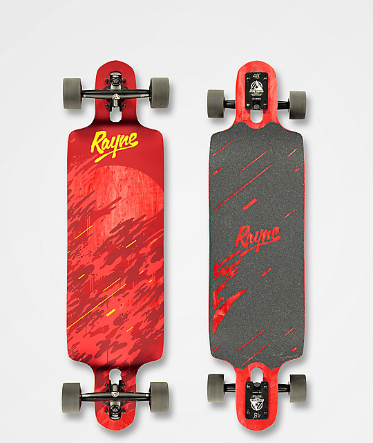 "Rayne Demonseed 36"" Double-Drop Through Red Wave Camo Longboard Complete"