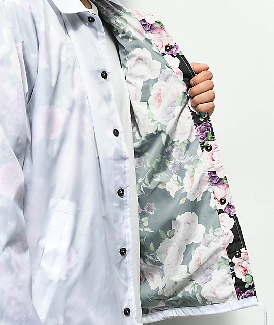 Real Bloom White & Floral Coaches Jacket