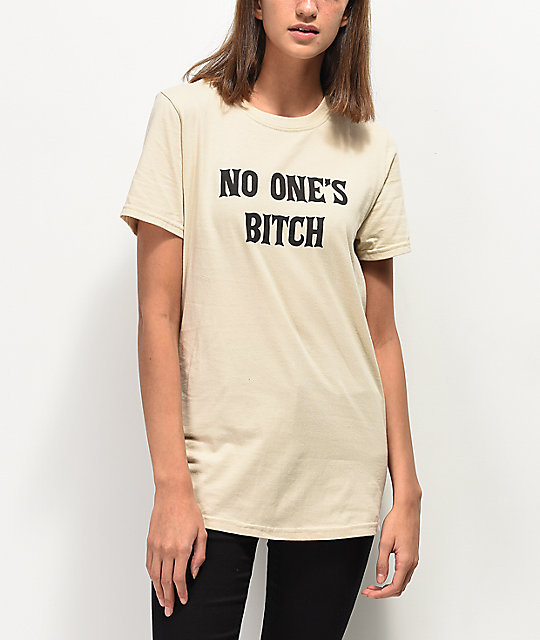 Rebel Soul No One's Bitch camiseta beige