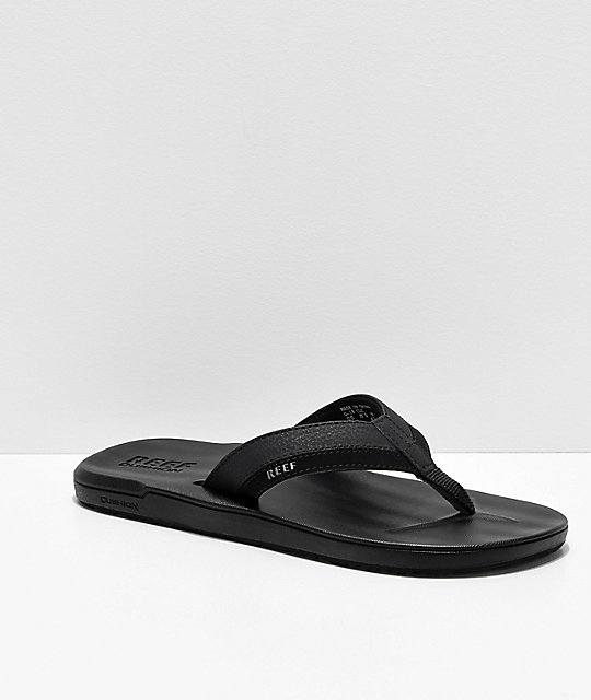 c9cce22dc64e Reef Contoured Cushion Black On Black Sandals
