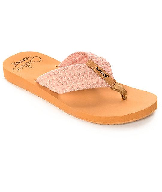 a79da656ec829 Reef Cushion Threads Blush Pink Sandals