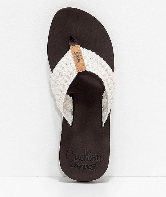5690ddbdd47f ... Reef Cushion Threads Vintage White Sandals ...