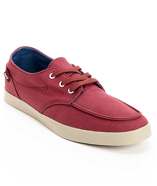 Reef Deck Hand 2 Burgundy Canvas Boat Shoes