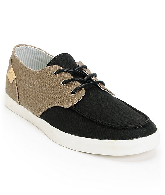 Reef Deck Hand 2 TX Brown Burlap & Black Canvas Shoes