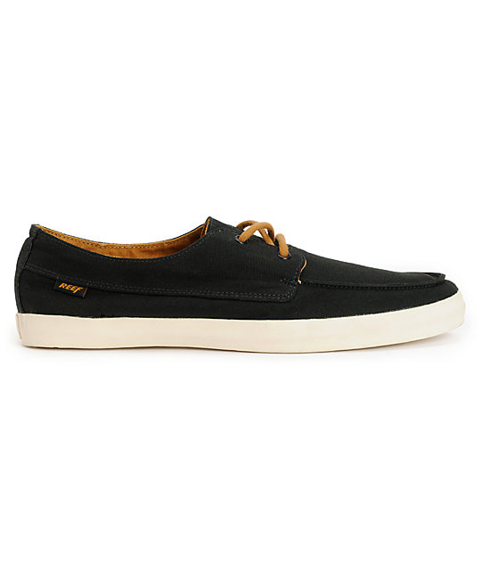 Reef Deckhand 2 Low Black & Tan Boat Shoes