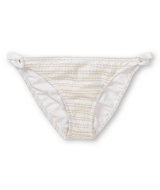 Reef Spirit White Crochet Loop Side Bikini Bottom