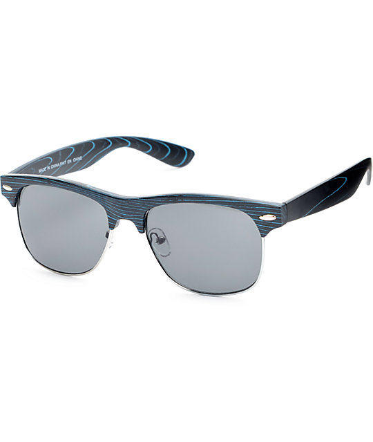 Retro Retro Blue Sunglasses Blackamp; Blue Wood Retro Wood Blackamp; Sunglasses Blackamp; 2DIEH9
