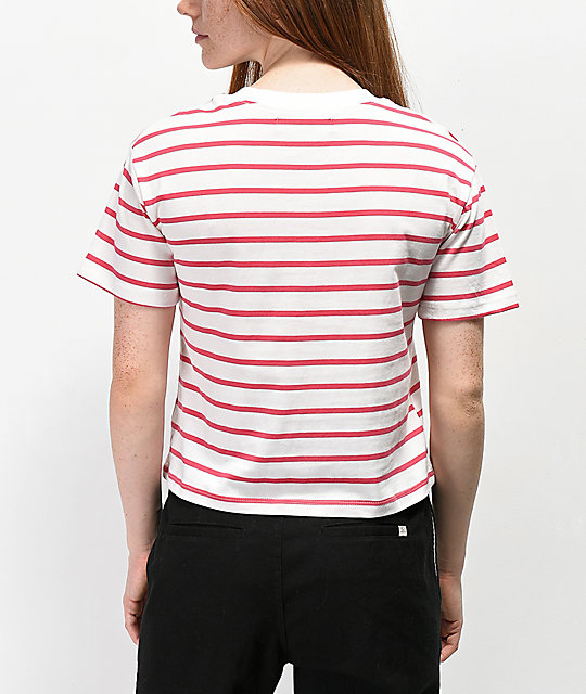 Rewash Pink & White Stripe Boxy Crop T-Shirt