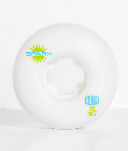 Ricta Sparx 51mm 101a White Skateboard Wheels
