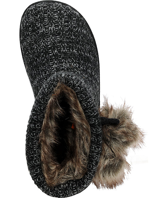 Rocket Dog Snowflake Snuggy Knit Black Slippers