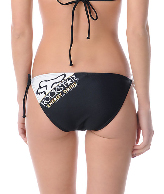 Rockstar x Fox Goldie Black & White Side Tie Bikini Bottom