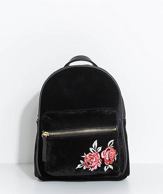 Rose Embroidered Black Velvet Mini Backpack ... 8059d4cf08ce3