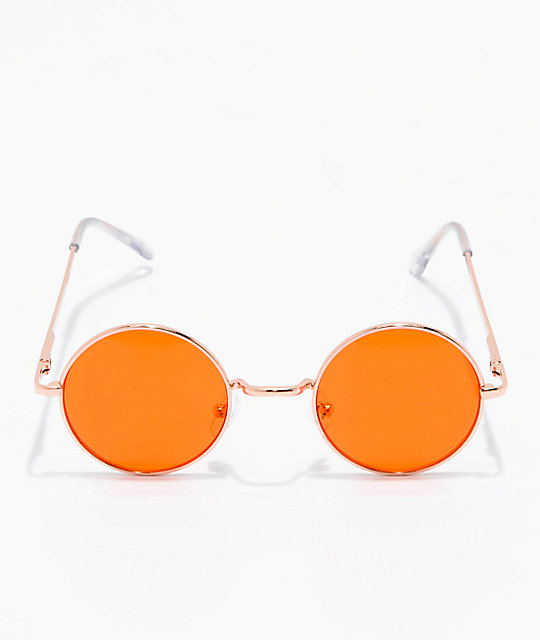 Rose Gold & Orange Round Sunglasses