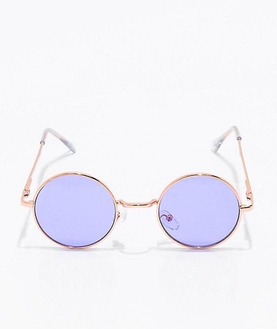 c686288a831 ... Rose Gold   Purple Round Sunglasses
