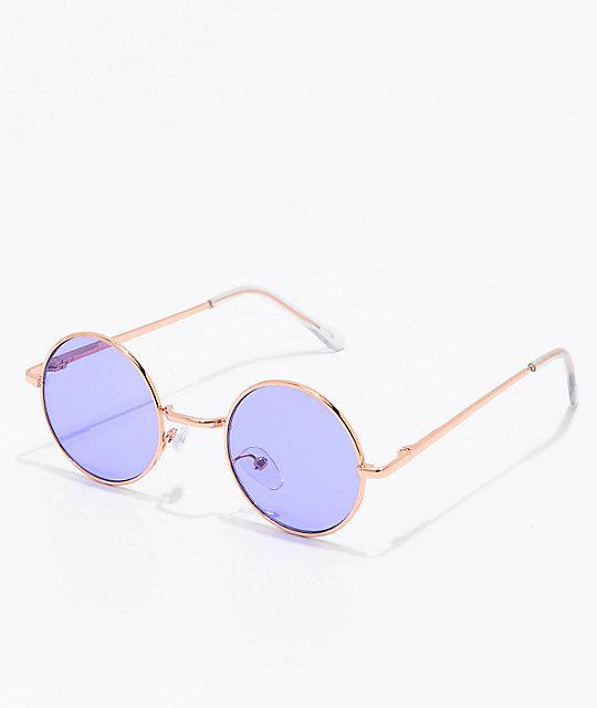 Rose Gold & Purple Round Sunglasses