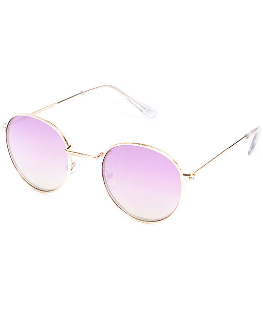 Rose Gold Purple Mirrored Fashion Sunglasses