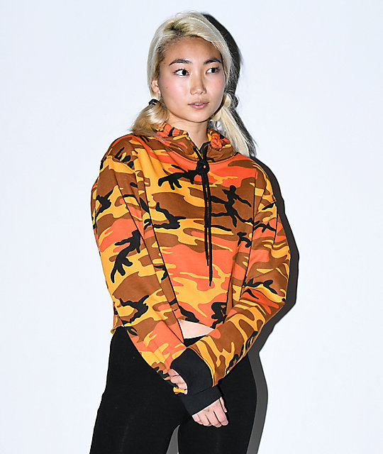 shopping size 7 authentic Rothco Orange Camo Crop Hoodie