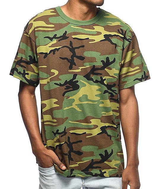 Rothco Poly//Cotton Woodland Camo Tee Men/'s Camo Short Sleeve T-Shirt