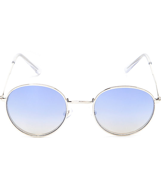 Round Blue Mirrored Fashion Sunglasses