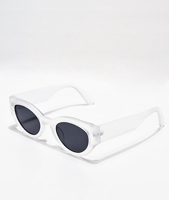 Round Clear & Grey Sunglasses