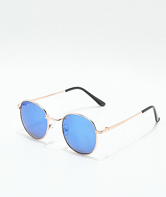 Round Shiny Rose Gold & Blue Mirror Sunglasses