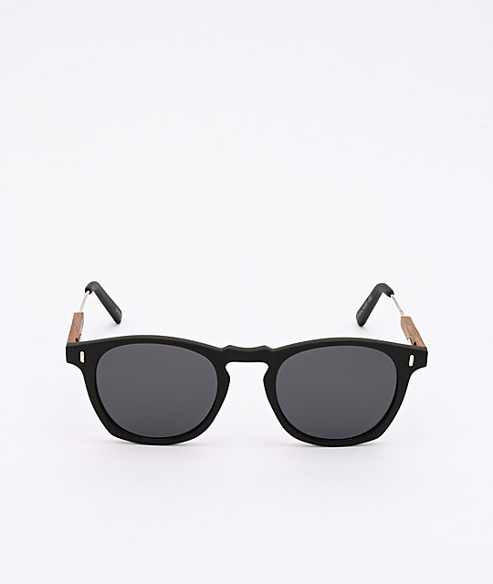 Rounds Black & Brown Wood Frame Sunglasses