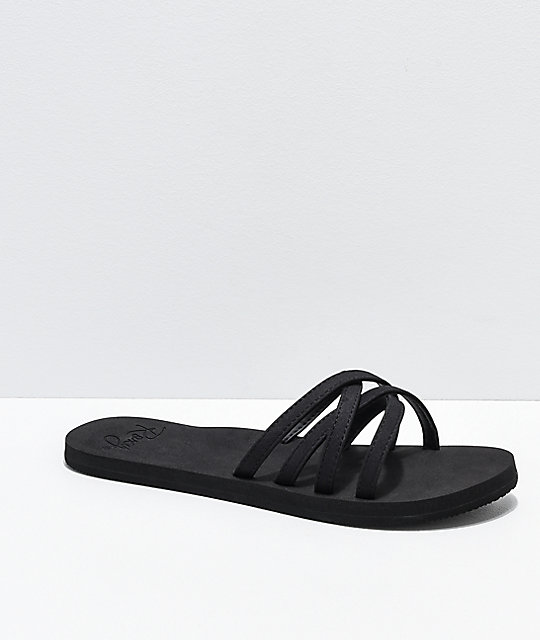 Roxy Abbie Strappy Black Slide Sandals