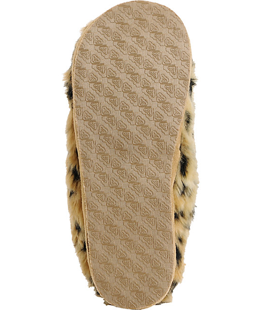 Roxy Amaretti Tan & Brown Leopard Print Fur Slippers