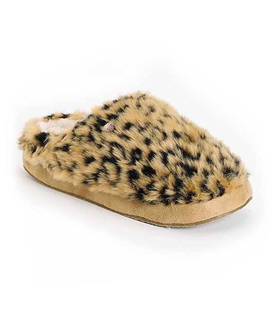 Roxy Amaretti Tan Brown Leopard Print Fur Slippers