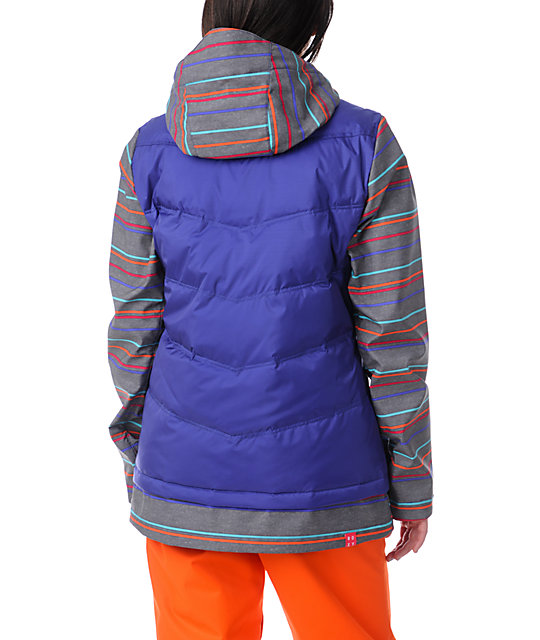 Roxy Bumblebee Moody Blue & Striped Vest & Softshell Combo Jacket