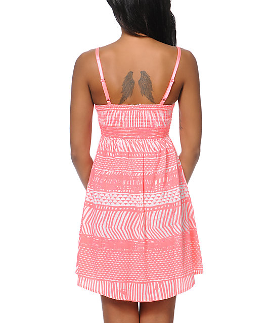 Roxy Buried Shell Watermelon Pink Print Dress