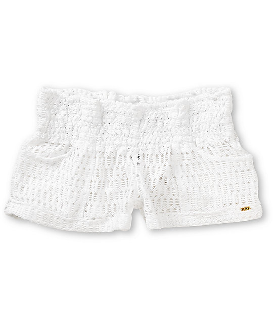 Roxy Clear Skies White Crochet Board Shorts Zumiez