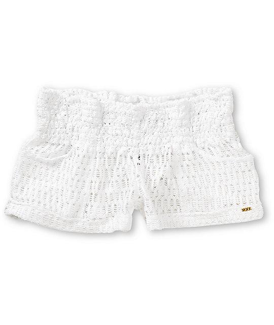 Roxy Clear Skies White Crochet Board Shorts Zumiez