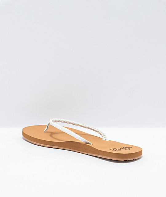 Roxy Costas Tan & White Sandals