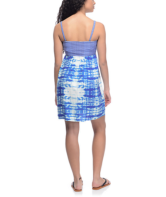 Roxy Crystal Light Blue Tie Dye Dress