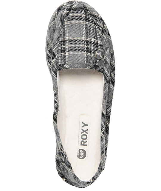 Roxy Del Mar Grey Plaid Slippers